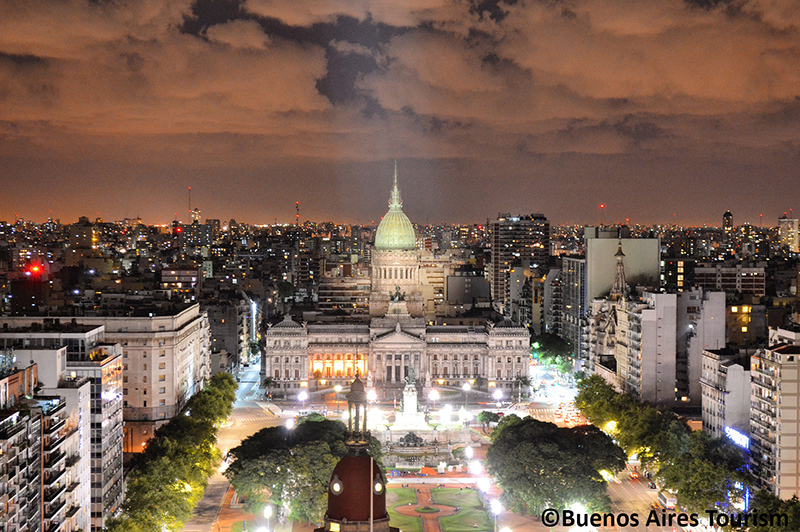Aerial shot Congresso Building at night Buenos Aires Argentina Llama Travel with
