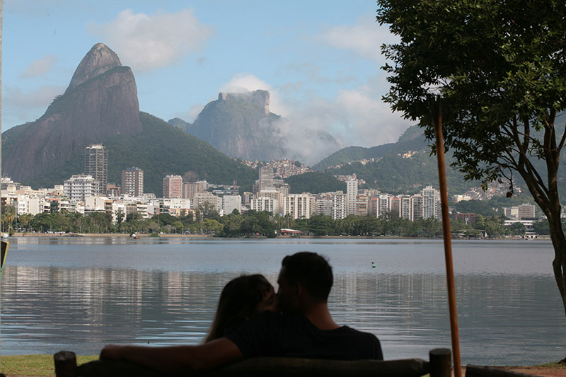 Couple on a bench in Rio Brazil Llama Travel
