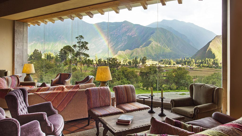 Lounge Hacienda Urubamba Hotel Sacred Valley Peru Llama Travel
