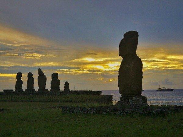 Moai at sunset Easter Island Chile Llama Travel