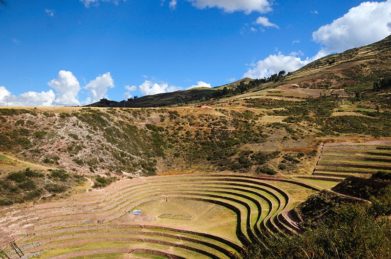 Moray agricultural terraces Sacred Valley Peru Llama Travel