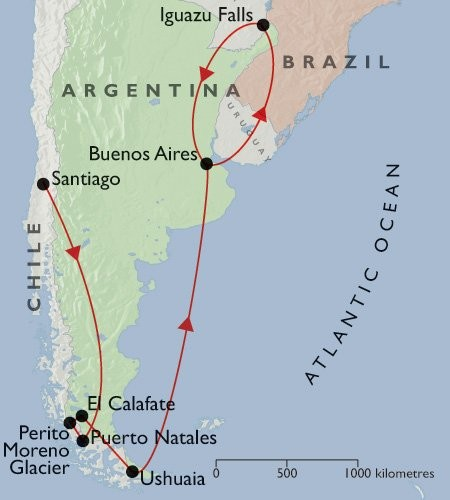 Best of Argentina & Chile + Tierra del Fuego & Iguazu map