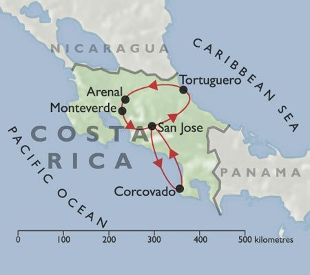 Best of Costa Rica +Corcovado Coast map