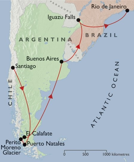 Best of Argentina & Chile + Rio & Iguazu map