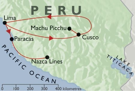 Incas & Conquistadors  + Inca Trail + Pacific Coast map