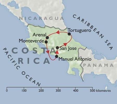Best of Costa Rica + Manuel Antonio map