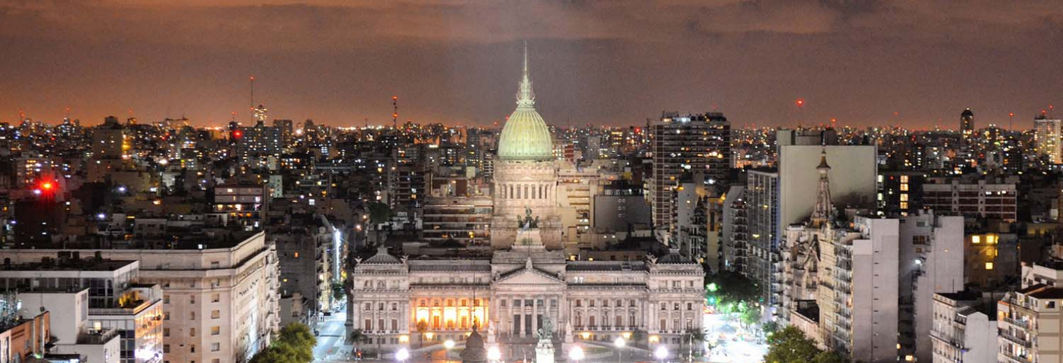 Aerial shot, Congresso Building at night, Buenos Aires, Argentina, Llama Travel with ©