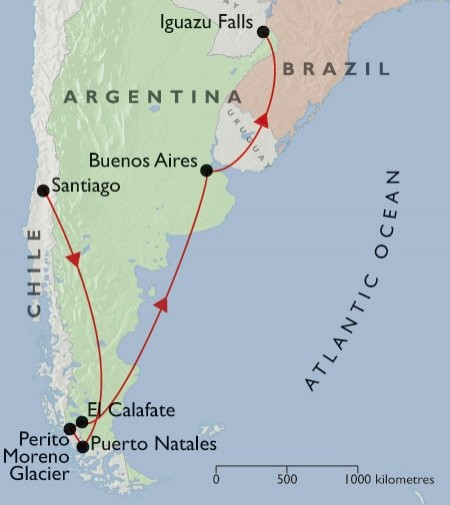 Best of Argentina & Chile + Iguazu map