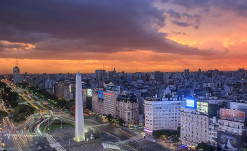 Aerial shot, Obelisko at night, Buenos Aires, Argentina, Llama Travel with ©