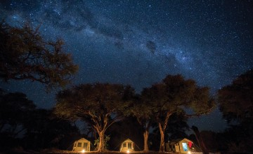 Camp at night, Letaka Mobile Tented Camp