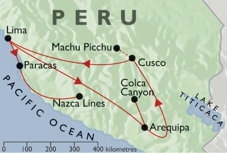 Incas & Conquistadors + Condors & Convents + Pacific Coast map