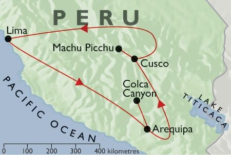 Incas & Conquistadors + Condors & Convents + Inca Trail map