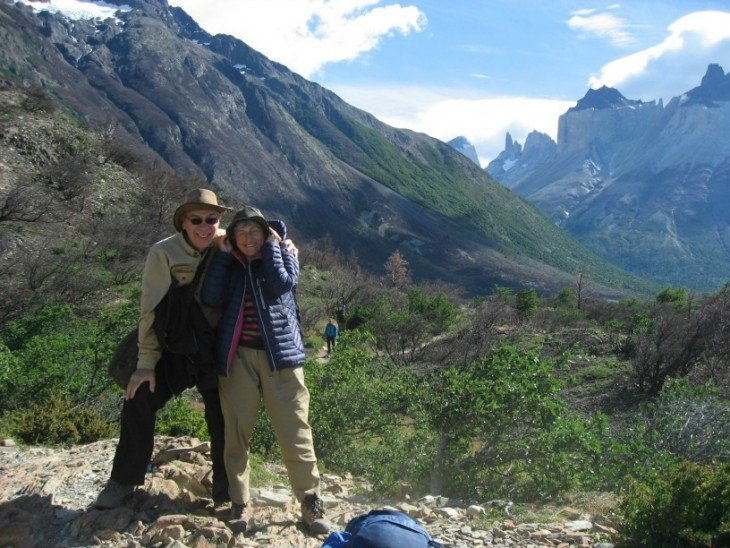 Happy travellers in Torres del Paine, Chile