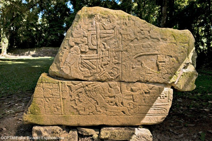 A carved stone at Yaxchilán archaeological site.